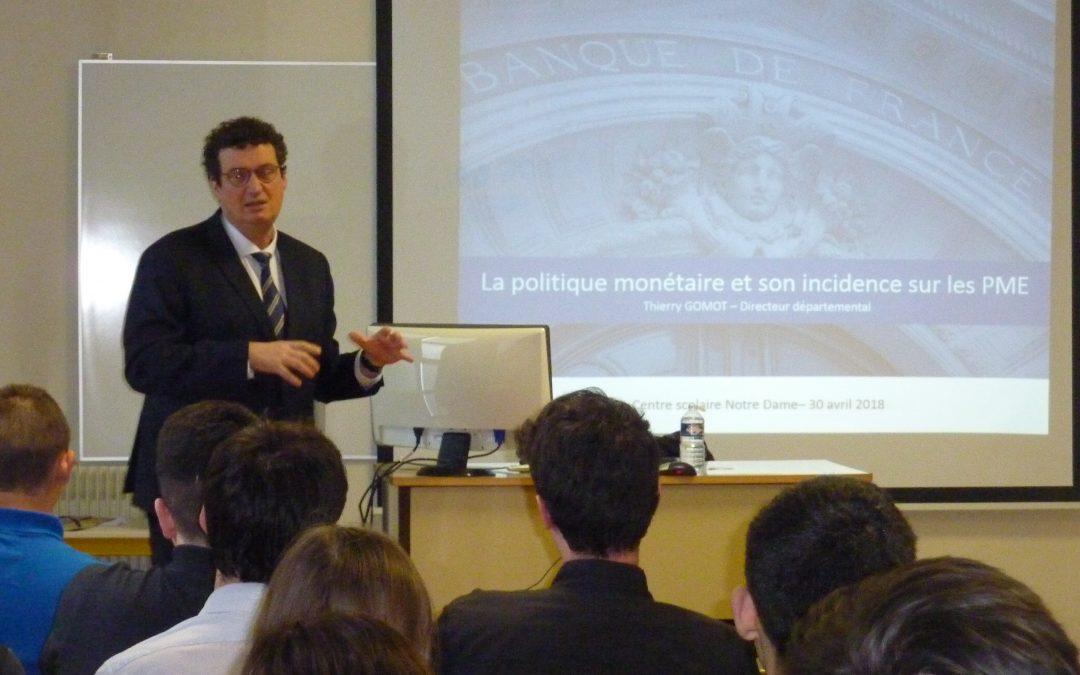 Echange avec M Thierry Gomot, Directeur de la Banque de France