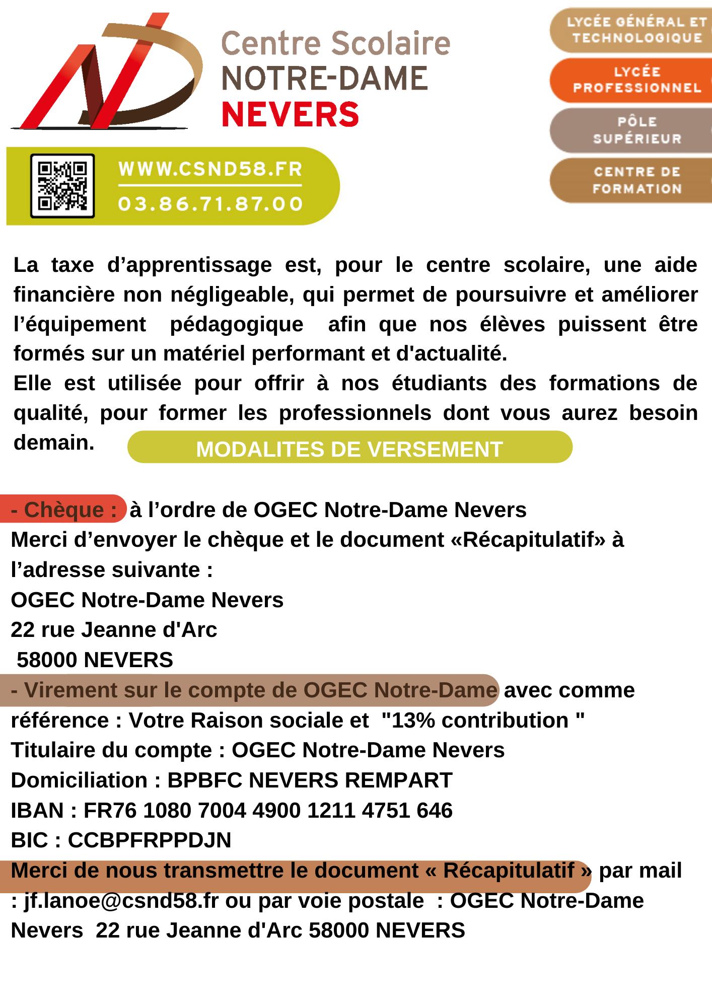 Centre scolaire Notre-Dame 22 rue jeanne d'Arc 58000 NEVERS 03 86 71 87 12 www.csnd58_fr contact@csnd58.fr (4)